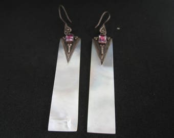 Vintage Statement Mother Of Pearl, Amethyst and Sterling Silver Earrings-FREE SHIPPING (US)