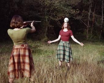 NOS Vintage Green brown plaid  Full Skirt size M