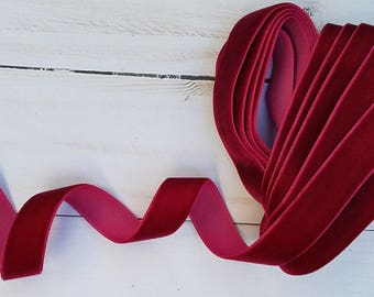 5/8 Wine Velvet NON ELASTIC Ribbon