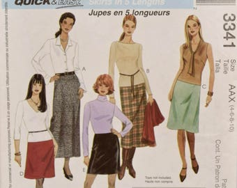 McCall's 3341 Sewing Pattern Misses' A-Line Skirts in Five Lengths Skirt Pattern Mini Maxi Quick and Easy UNCUT Factory Folds Sizes 4-6-8-10