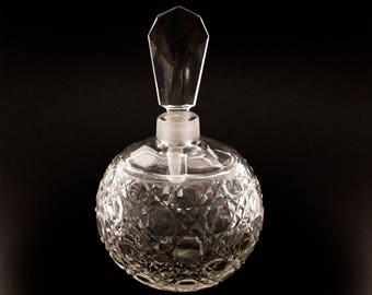 Vintage Cut Glass Perfume Bottle Hobnail Pattern