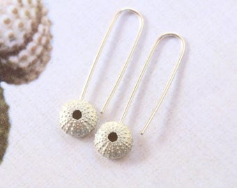 Sea Urchin Shell 9ct Gold Drop Earrings. Ocean Beach Nautical Jewellery, Gift for her, Girls Birthday Gift, Modern Earrings