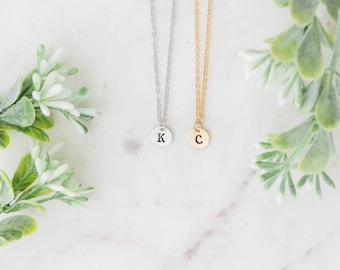 Initial Necklace, Letter Necklace, Personalized Disc, Bridesmaids Initial Necklace, Hand Stamped Jewelry, Custom Name Letter Necklace