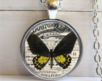 Butterfly Pendant, Vintage Collage, Butterfly Necklace, Butterfly Jewelry