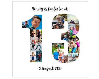 Personalised 13th Birthday Photo Collage Digital File