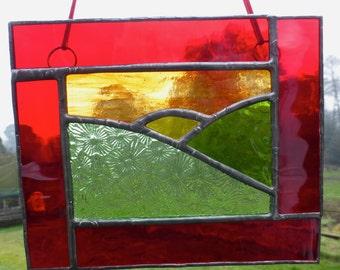 Sunset and Fields stained glass light catcher / Sun Catcher