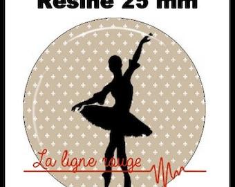 Round cabochon resin 25 mm - Ballet Dance stick (1013) - dancer, Ballet