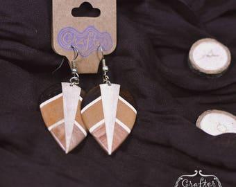 Leaf Coconut Natural Eco Earrings - Geometric Jewellery