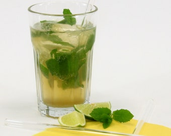 Glass drinking straw, single, straight, 8 mm x 200 mm