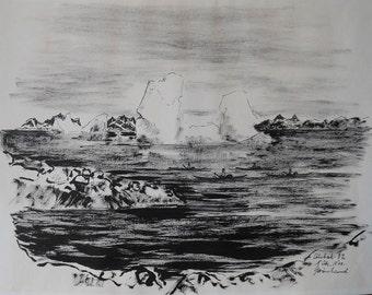 vintage ink wash Greenland  sea signed