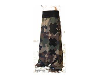 Harem pants unisex camouflage and black cross