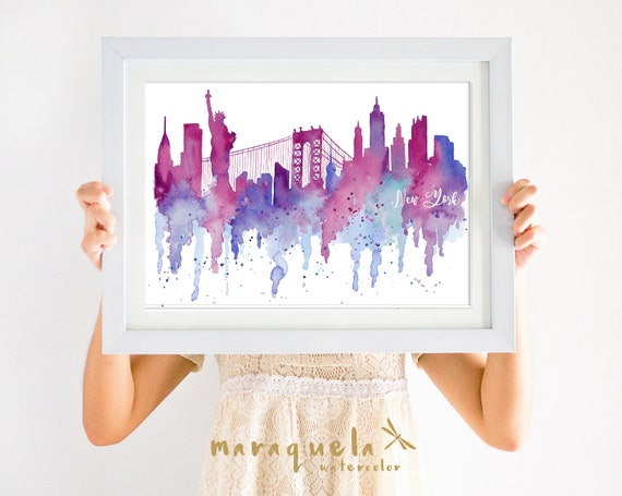 NEW YORK Skyline PINK and Blue hues, original watercolor America usa,art print,poster ny painted, christmas gift nueva york,girl decoration
