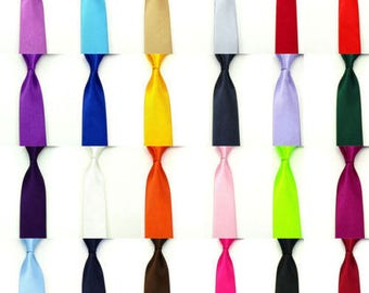 Mens Ties - New Skinny Slim Quality Mens Satin Wedding Solid Plain Necktie Color Tie Party