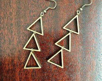 Pyramid Scheme - Bronze Triangle Dangle Earrings - Geometric Jewelry - Handmade Earrings - Hand Wire Wrapped