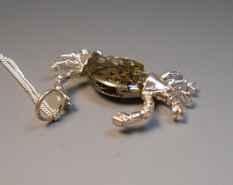 Steampunk Upcycled Genuine Watch Movement Sterling Silver Crab Crustacean Pendant