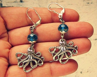 Octopus Earrings, Octopus Jewelry, Octopus Jewellery, Nautical Earrings, Nautical Jewelry, Unique Gifts For Cephalopod Lovers
