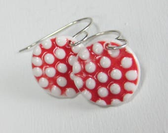 Ceramic Earring Red and White Porcelain dots Earrings With Sterling Silver Earwires  FREE DOMESTIC SHIPPING