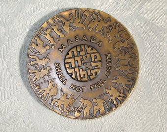 """Sale!   ISRAEL """"MASADA Shall Not Fall Again"""" State Medal 59mm 98grams Bronze issued 5725-1965"""