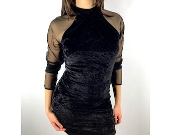 1980s black velour with sheer sleeves mini dress