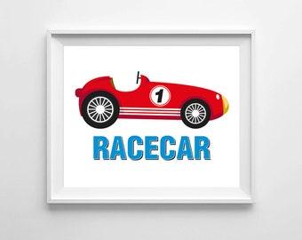 race car print, red race car print, boy room art, playroom decor, boys nursery, wall decor, children wall art, 8x10 print, printable art