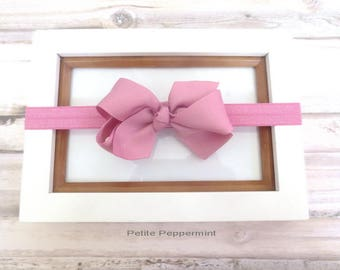 Pink baby headband, baby hair bow, baby headband bow, girl hair bow, newborn headband, baby bow headband, toddler headband, infant headband