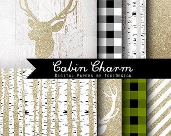 Cabin Charm Christmas Digital Scrapbook Papers -Gold Glitter, woodland, Deer antler, lumberjack, buffalo