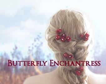Red Wedding Hair Flowers, Bridal Hair Accessories, Bridal Hair Pins - 12 Red Rose Wedding Hair Pins - White Pearl Centers