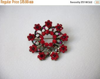 ON SALE Retro Antiqued Metal Bright Red Rhinestones Floral Burst Over Sized Pin 71317
