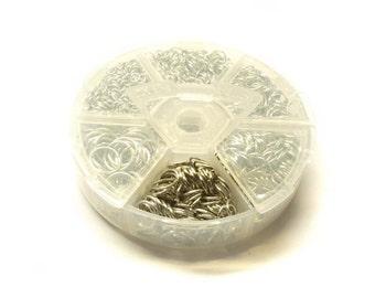 1 jump rings box Platinum, Ø 4-10 mm