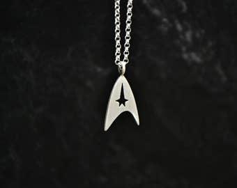 Star Trek Necklace, 925 Sterling Silver Insignia Star Trek Men Jewelry, Sci-fi Space Jewelry, Star Trek Emblem