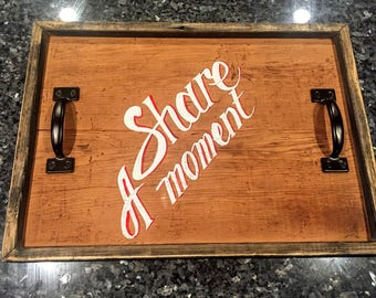 Reclaimed wood, rustic serving tray, with handles