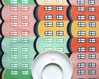 Tablecloth red green black yellow orange Houses Modern Scandinavian Design , runner , napkins , pillow , curtains available, great GIFT