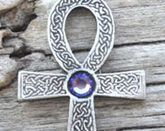 Pewter Ankh Egyptian Cross with Celtic Knots Pendant with Swarovski Crystal Lavender Tanzanite JUNE Birthstone (31G)