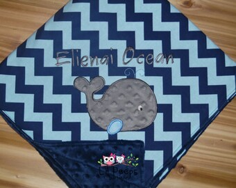 Whale Minky Baby Blanket - Navy Blue and Aqua Chevron - Personalized