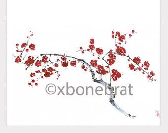 CHERRY BLOSSOMS Digital Greeting Card. Floral Cards. Digital Print. Digital Art. Painting Flower Printable cards. Digital Print Download.