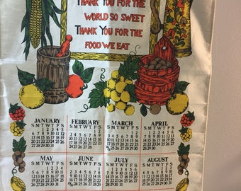 1985 Fall colors Linen Decorative Wall Calendar Fruit and Vegetable Theme Thanksgiving Statement
