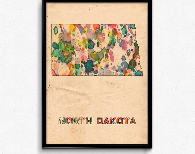 North Dakota Map Poster Watercolor Print - Fine Art Digital Painting, Multiple Sizes - 12x18 to 24x36 - Vintage Paper Colors Style