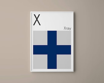 Letter X // International Maritime Signal Flags // Navy Flag Letter // X for Xray // Nautical Art // Typography Art // Phonetic Alphabet