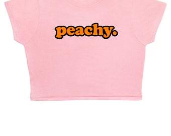 FREE UK Shipping Peachy ∘ Crop Top ∘ Unisex ∘ Kawaii ∘ Grunge ∘ Pastel Pink Blue Yellow ∘ Tumblr ∘ Instagram