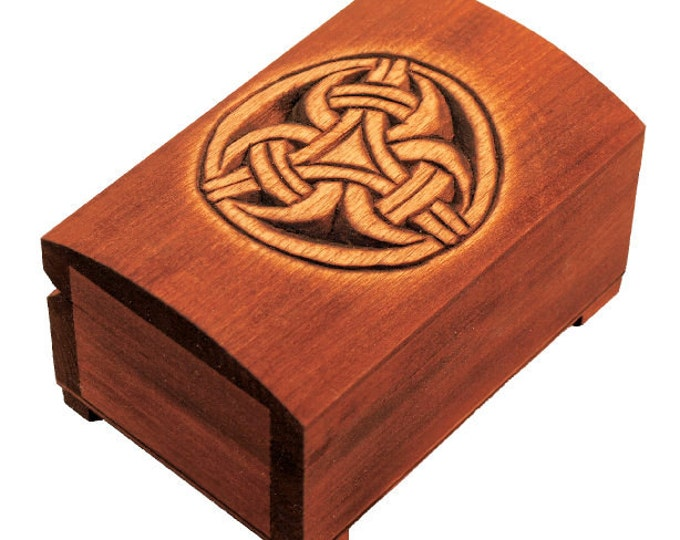 Wooden historical jewelry box with pattern of Borre Style, Norway