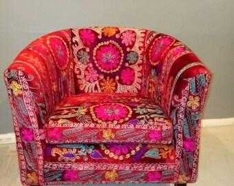 MCM chair , suzani, barrel chair, tub chair, hollywood regency , boho chair, bohemian , eclectic