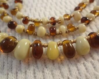 Earth Tones Three Layer Choker Imitation Jellybean Bead Necklace - F030