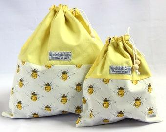 Bees knitting bag, bees drawstring bag, bumble bees project bag, yellow knitting bag fabric bag, fabric drawstring bag, UK knitting shop