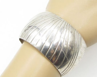 925 sterling silver - curved linear design 40mm cuff bracelet b1147