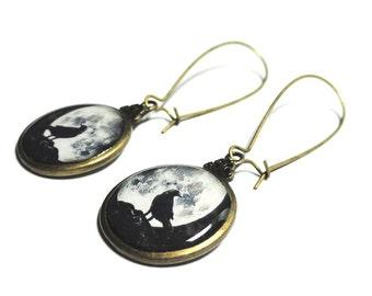 Raven and Moon Earrings, Black Dangle Earrings, Full Moon Jewelry, Resin, Halloween Jewelry, Night, Sky, Goth, Black Crow, Bird Jewelry