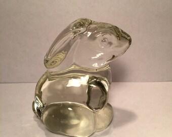 Vintage (1980's) Glass Bunny Rabbit Paperweight Figurine