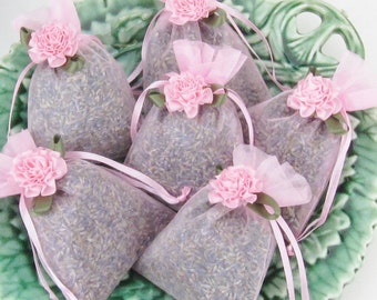 Lavender Sachet SIX Pack lavendar sachets with ribbon Flower freshly made for you Wedding Bridal Shower favors Pink Green