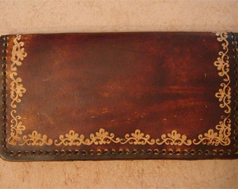 Tooled Brown Leather Checkbook Cover - SND Border