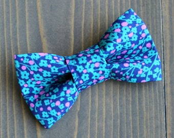 Blue and Pink Floral Print Bow Tie for Cat, Dog Bow Tie, Slide on Collar Accessory, Handmade in Canada, Spring, Summer, Flowers