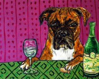Boxer at the Wine Bar Dog Art Print 13x19 JSCHMETZ modern abstract folk pop art AMERICAN ART gift